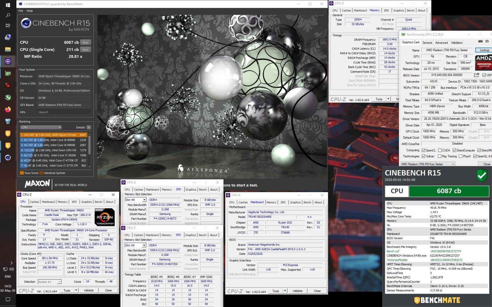 Ryzen TR 3960X 100-000000010 CINEBENCH R15 6087cb at 4520-1683 & 1000-5000 Radeon R9 Fury.jpg